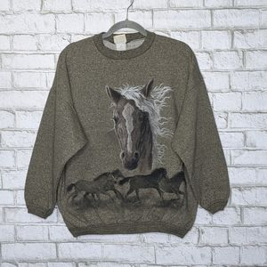 Vtg Artisans Horse Wrap Around All Over Sweatshirt